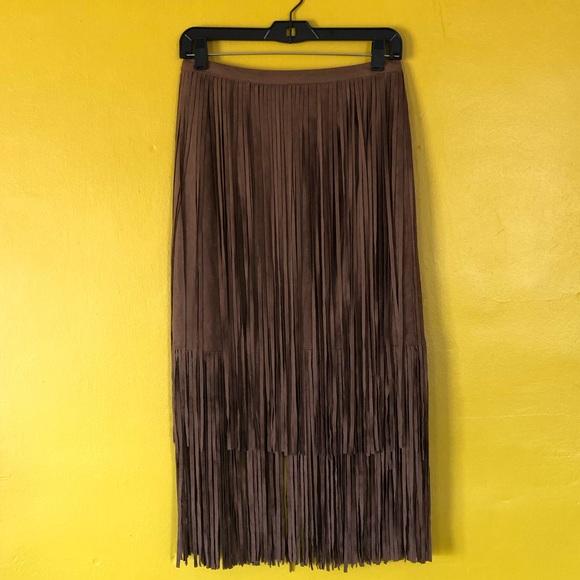 Boston Proper Dresses & Skirts - NWT BOSTON PROPER Faux Suede Fringe Skirt Cognac